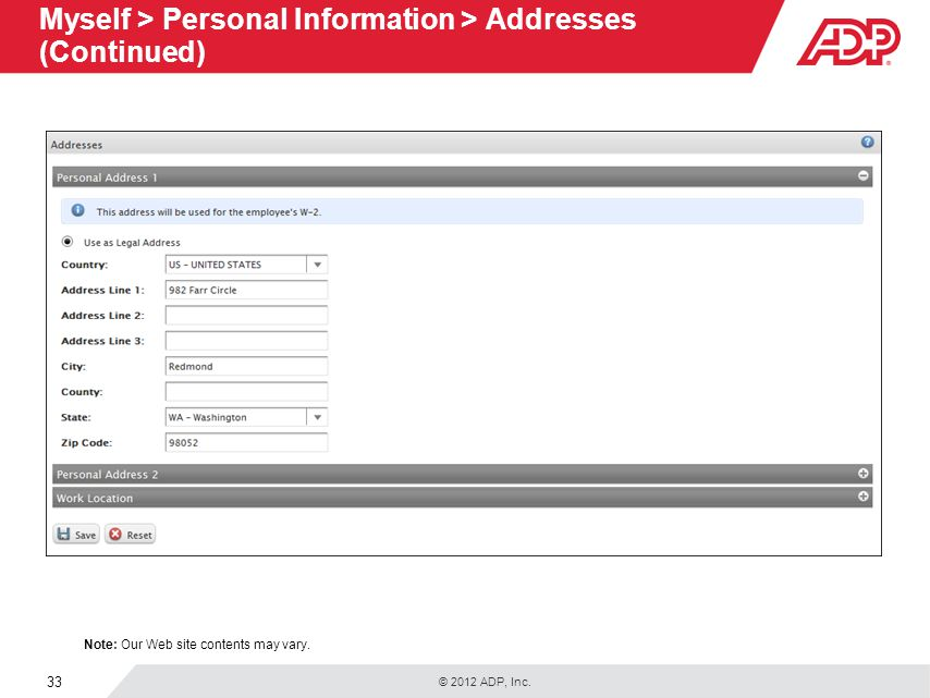 Myself > Personal Information > Addresses (Continued)