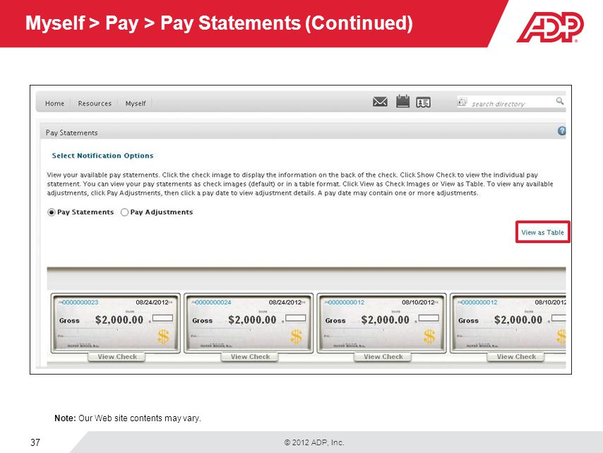 Myself > Pay > Pay Statements (Continued)