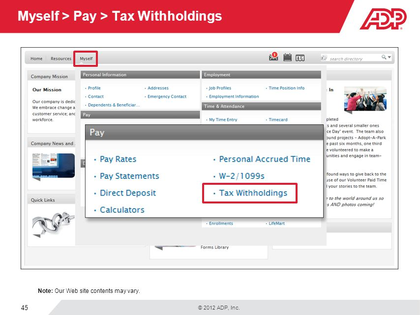 Myself > Pay > Tax Withholdings
