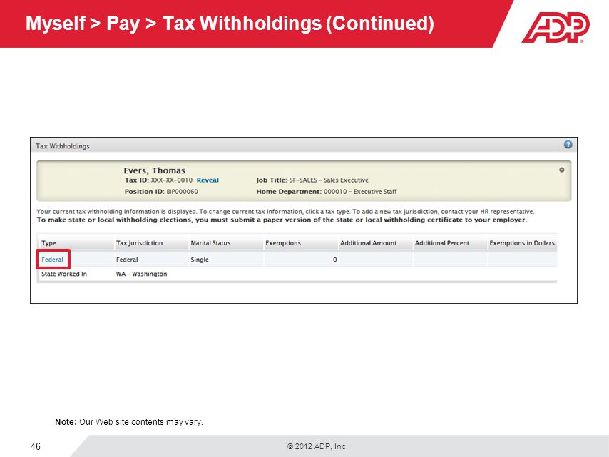 Myself > Pay > Tax Withholdings (Continued)