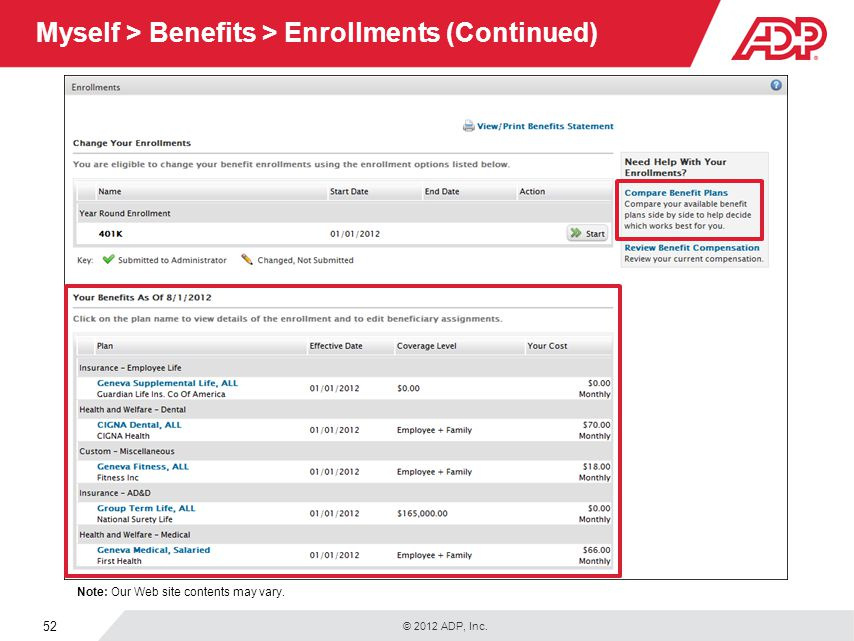 Myself > Benefits > Enrollments (Continued)