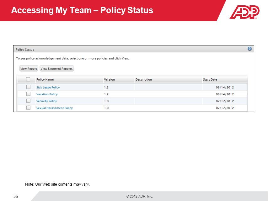 Accessing My Team – Policy Status