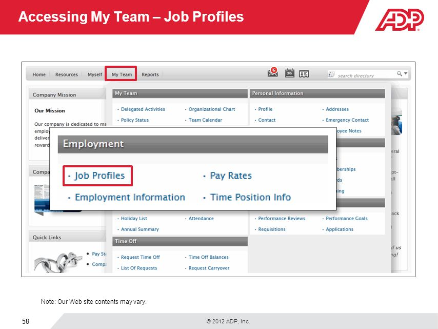 Accessing My Team – Job Profiles