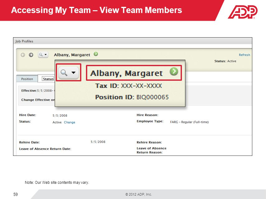 Accessing My Team – View Team Members