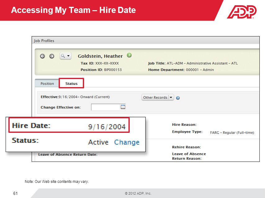 Accessing My Team – Hire Date