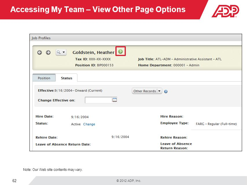 Accessing My Team – View Other Page Options