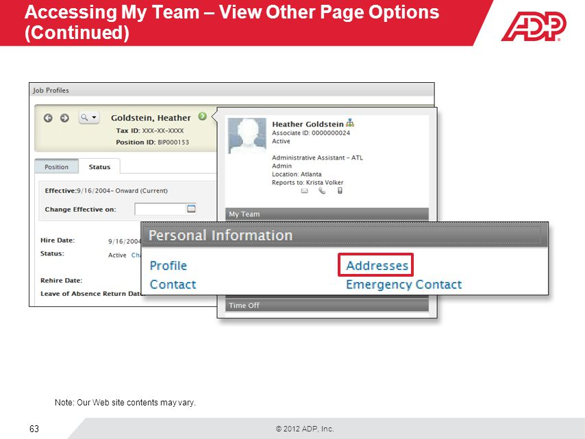 Accessing My Team – View Other Page Options (Continued)