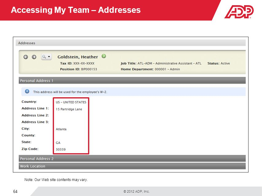 Accessing My Team – Addresses