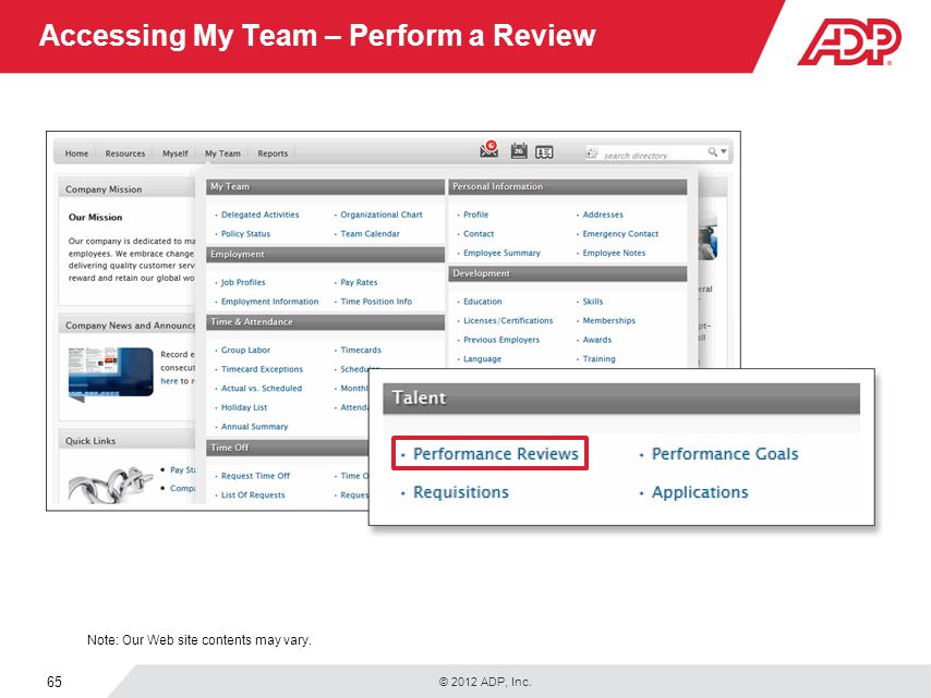 Accessing My Team – Perform a Review