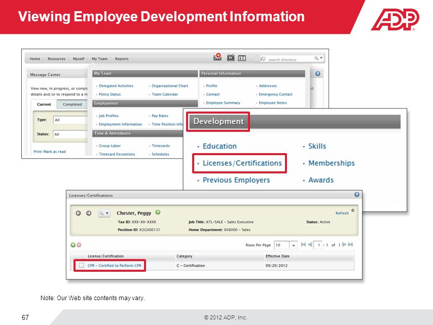 Viewing Employee Development Information