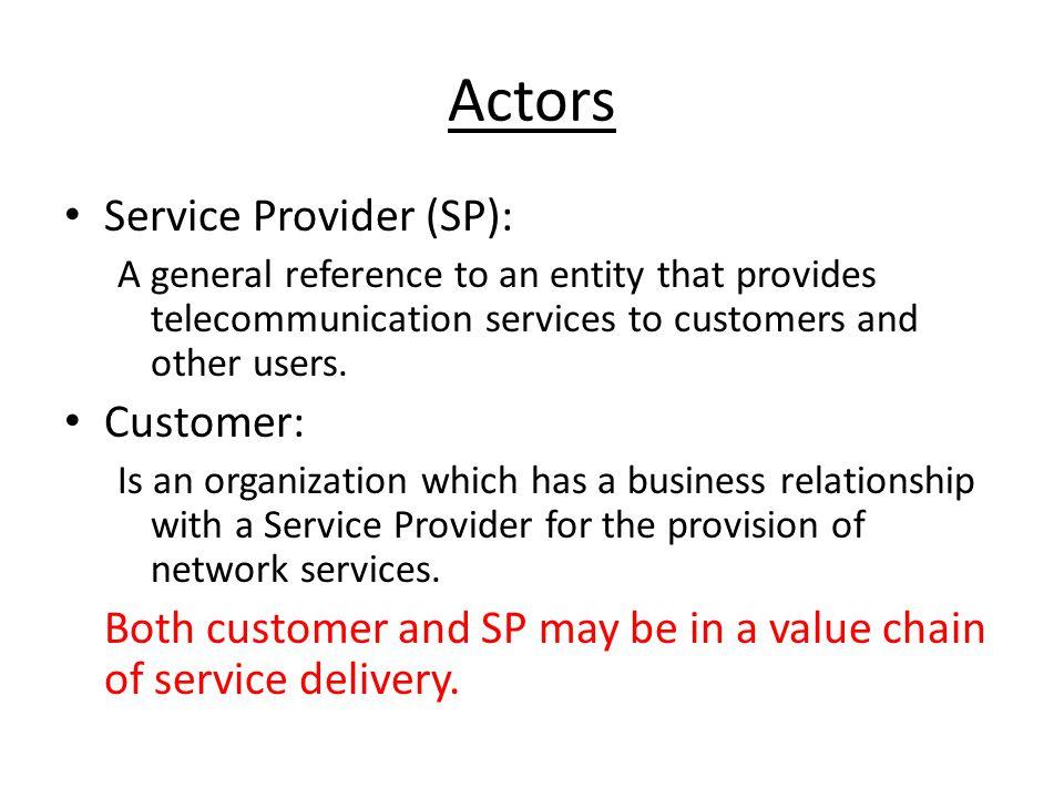 Actors Service Provider (SP): Customer: