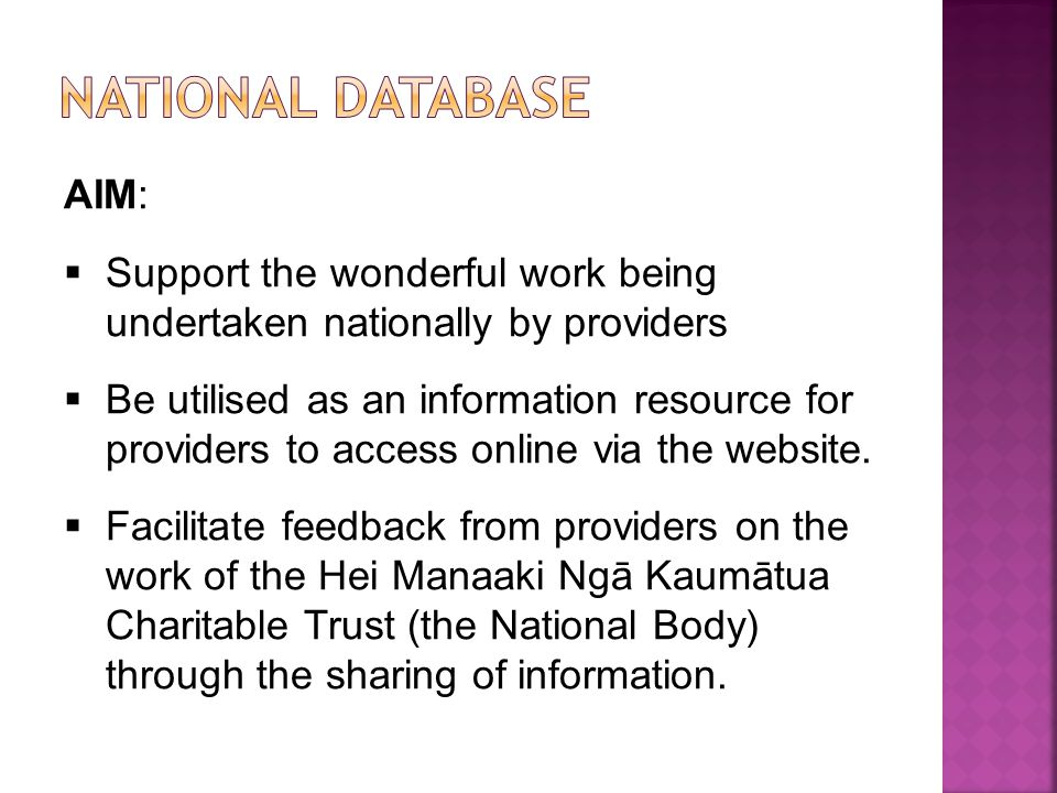 NaTIONAL DATABASE AIM:
