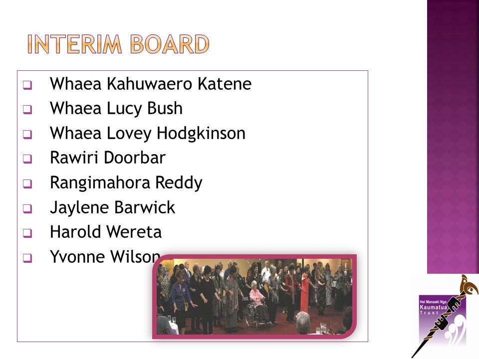 Interim Board Whaea Kahuwaero Katene Whaea Lucy Bush