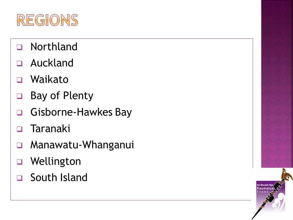 REGIONS Northland Auckland Waikato Bay of Plenty Gisborne-Hawkes Bay