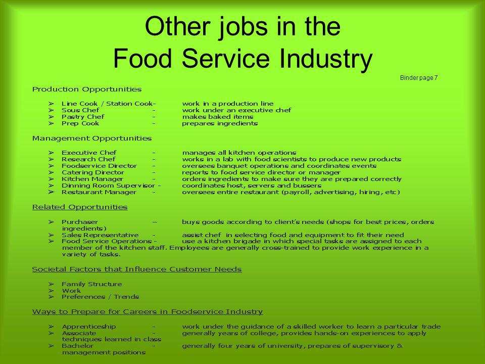 Other jobs in the Food Service Industry Binder page 7