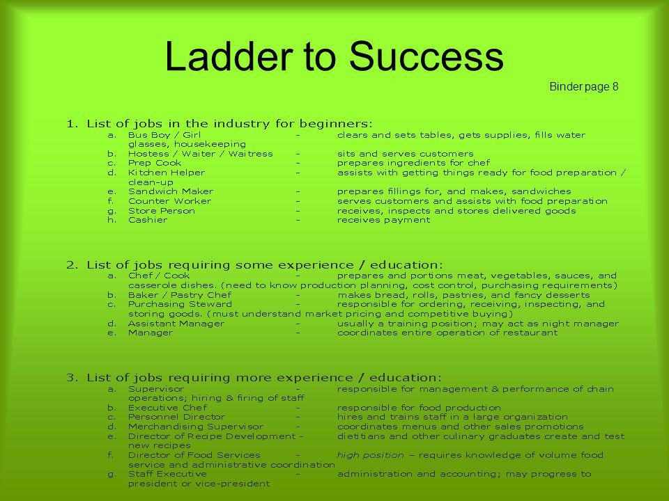 Ladder to Success Binder page 8