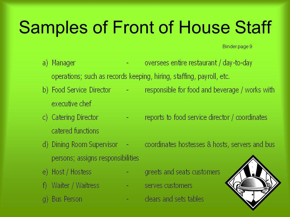 Samples of Front of House Staff
