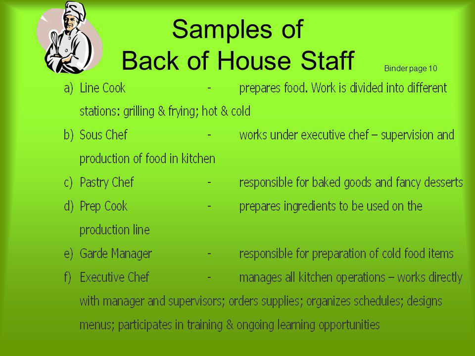 Samples of Back of House Staff