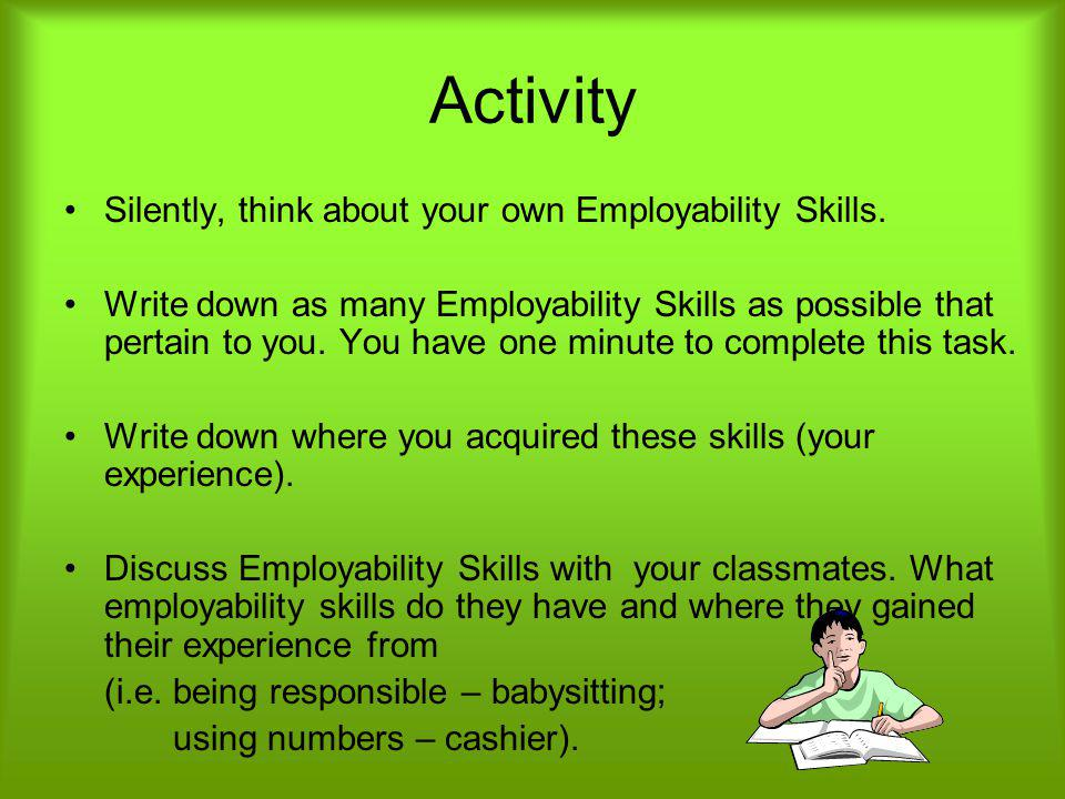 Activity Silently, think about your own Employability Skills.