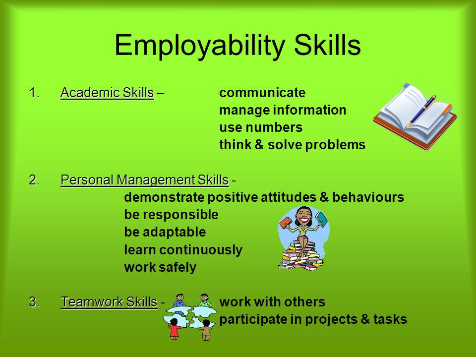 Employability Skills Academic Skills – communicate manage information