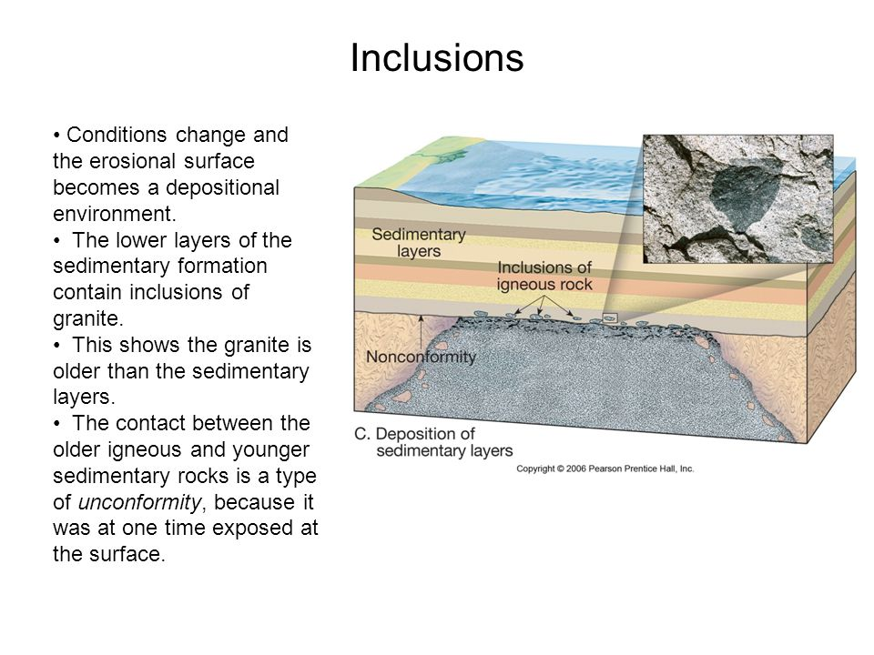 Inclusions Conditions change and the erosional surface becomes a depositional environment.