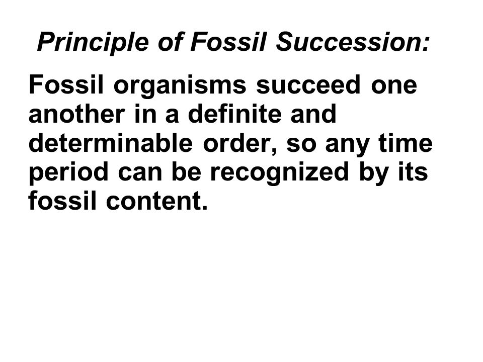 Principle of Fossil Succession: