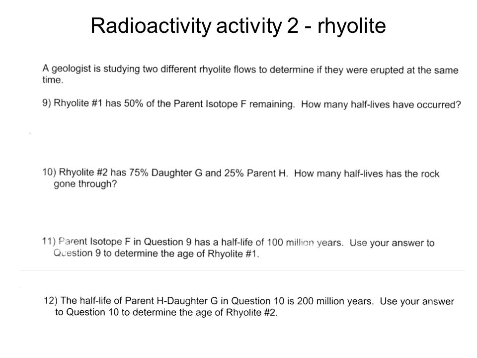 Radioactivity activity 2 - rhyolite