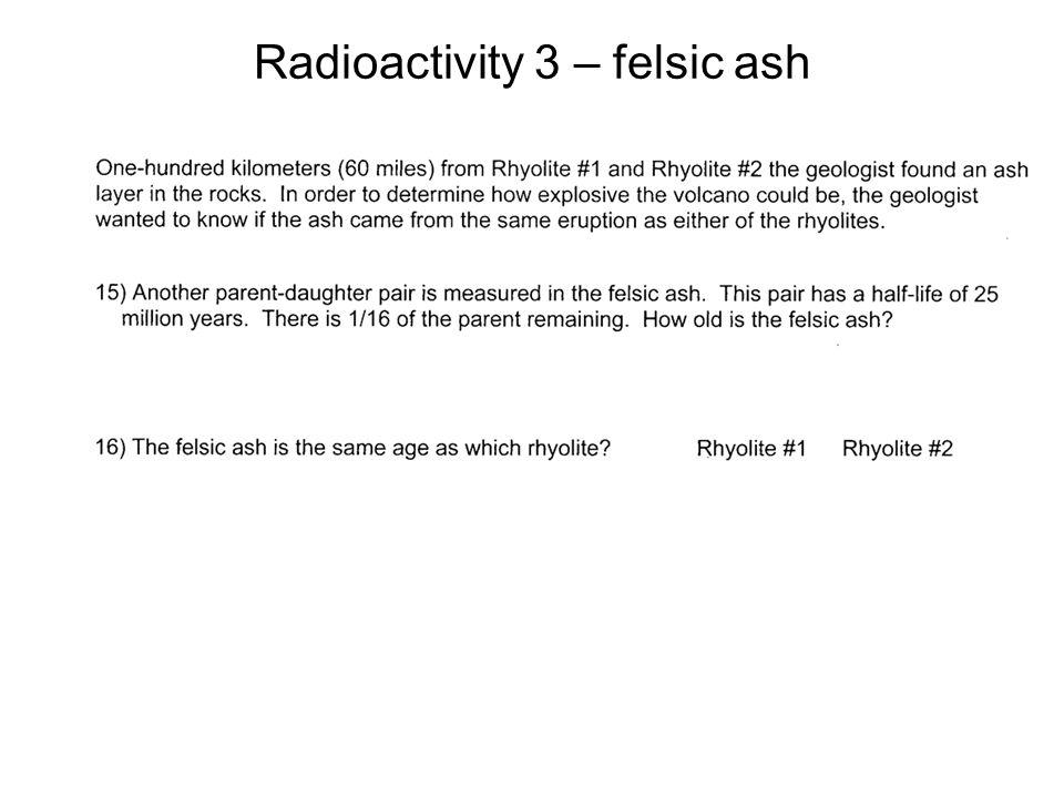 Radioactivity 3 – felsic ash