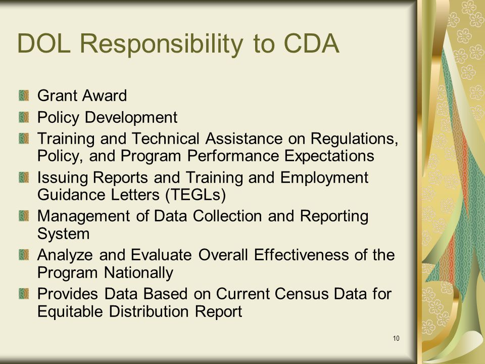 DOL Responsibility to CDA