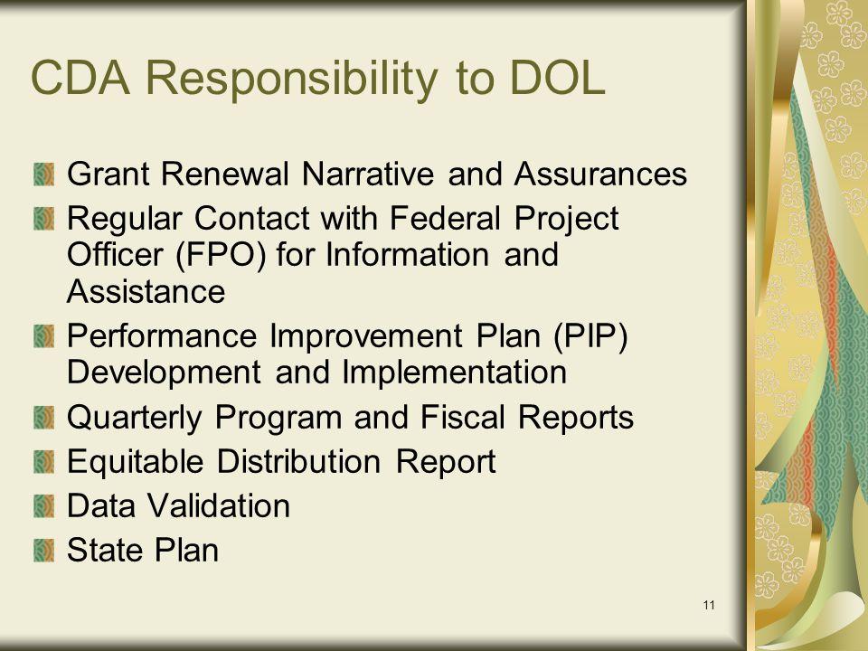 CDA Responsibility to DOL