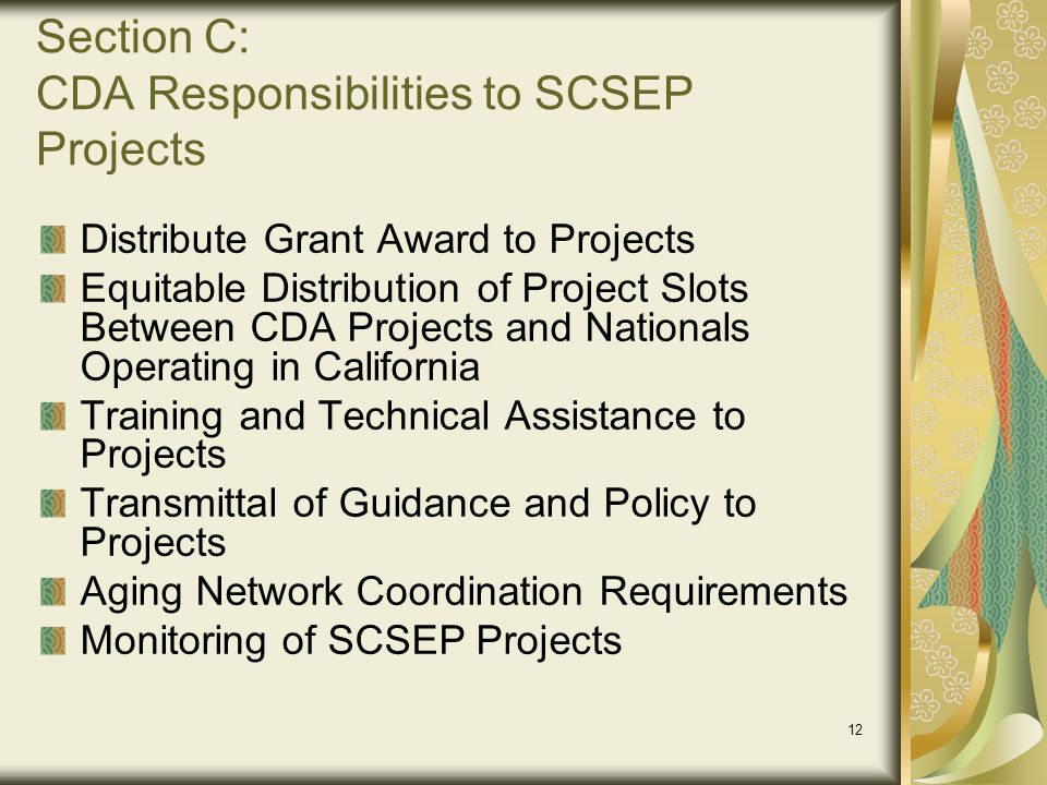 Section C: CDA Responsibilities to SCSEP Projects
