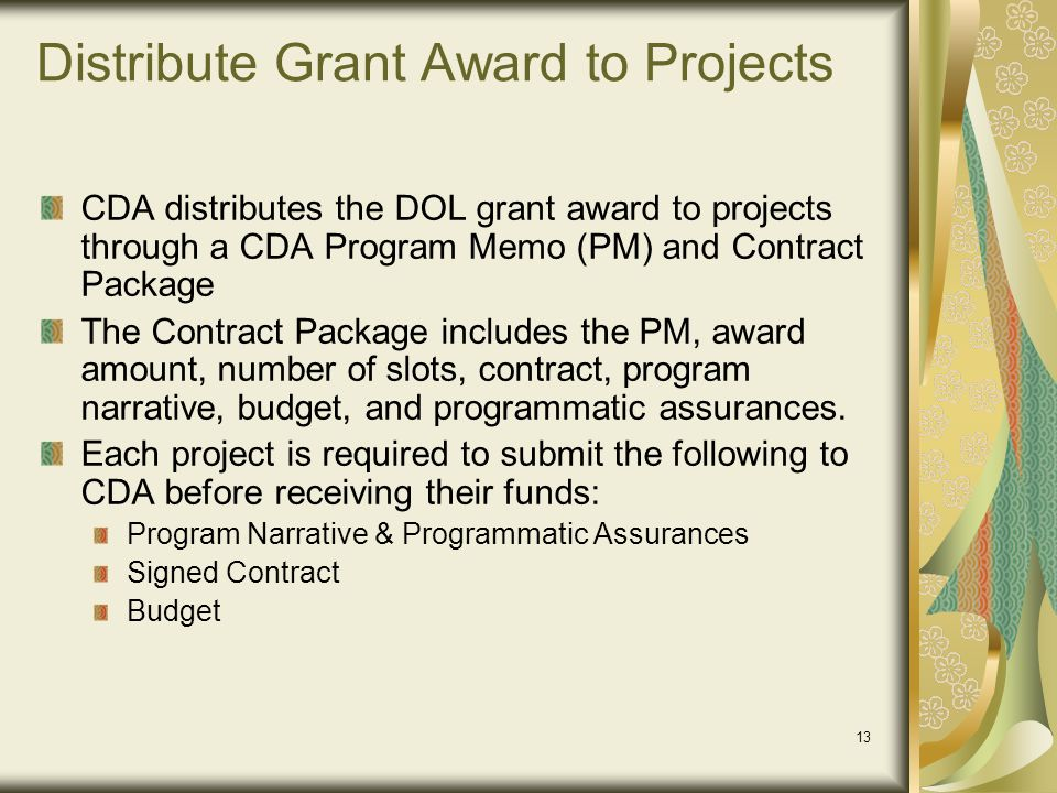 Distribute Grant Award to Projects