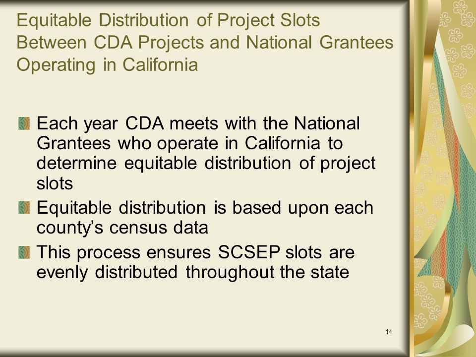 Equitable Distribution of Project Slots Between CDA Projects and National Grantees Operating in California