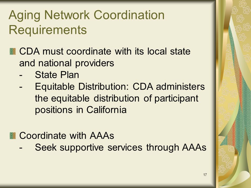 Aging Network Coordination Requirements