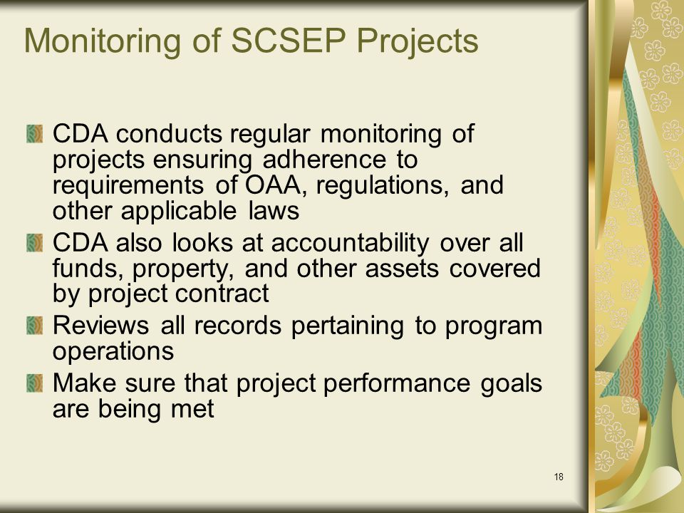 Monitoring of SCSEP Projects
