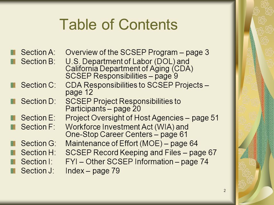 Table of Contents Section A: Overview of the SCSEP Program – page 3