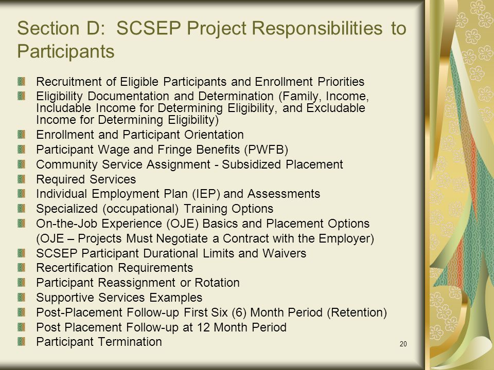 Section D: SCSEP Project Responsibilities to Participants