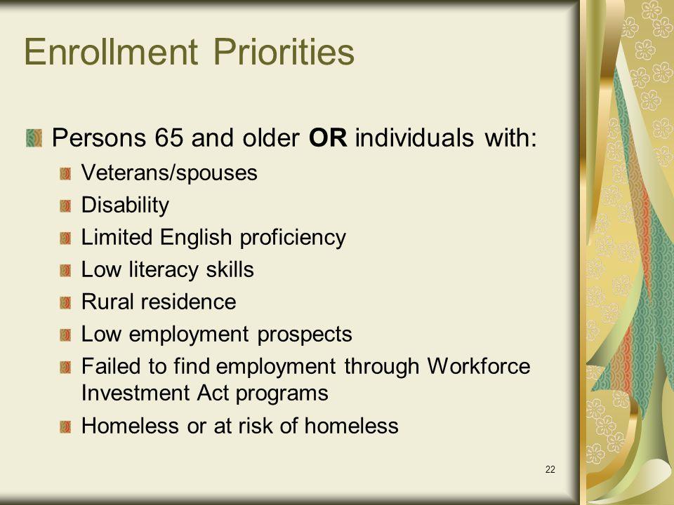 Enrollment Priorities