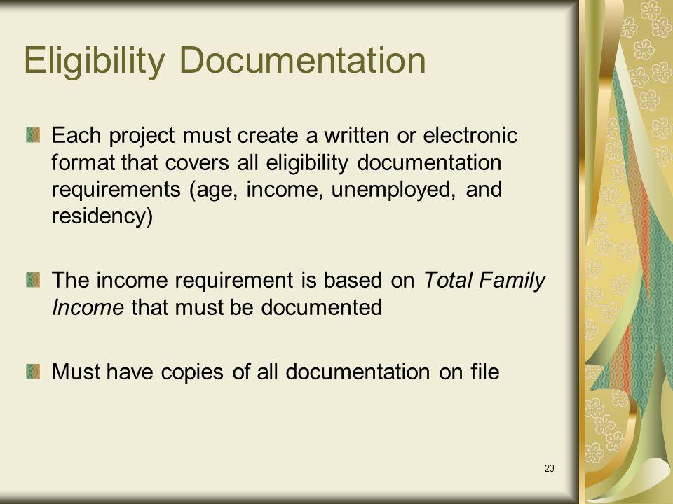 Eligibility Documentation