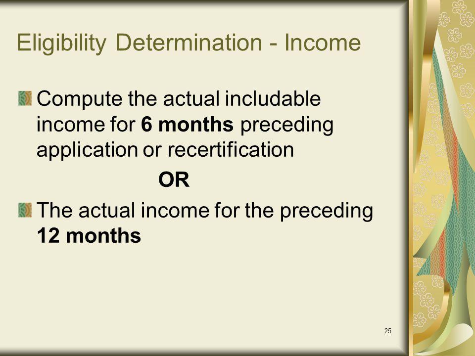 Eligibility Determination - Income