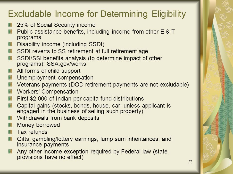 Excludable Income for Determining Eligibility