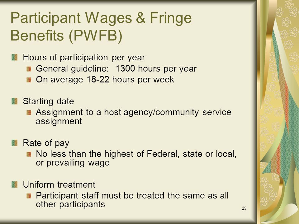Participant Wages & Fringe Benefits (PWFB)