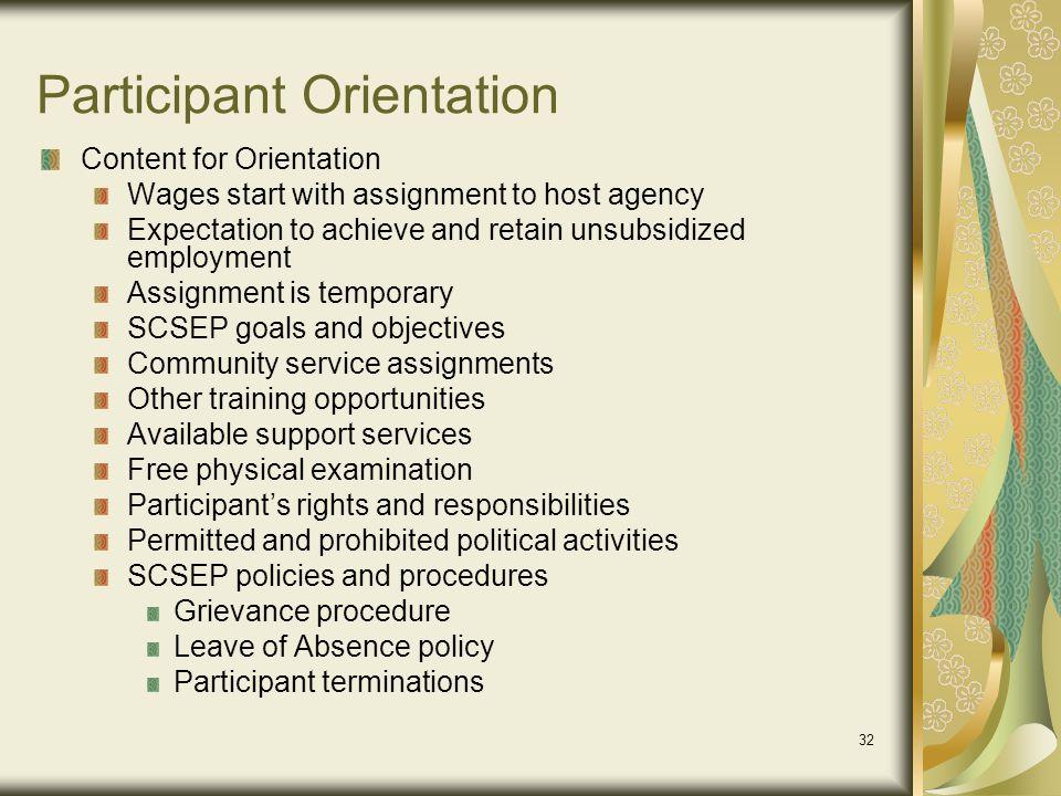 Participant Orientation