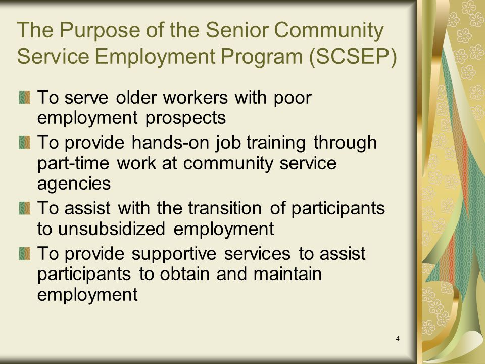 The Purpose of the Senior Community Service Employment Program (SCSEP)