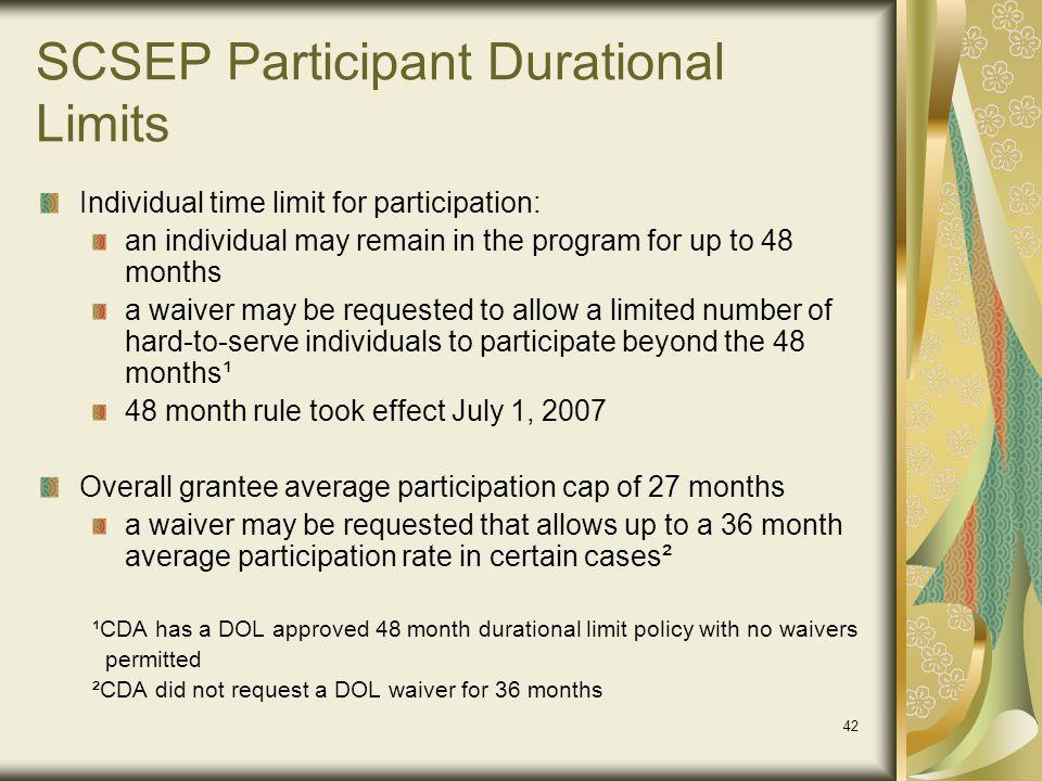 SCSEP Participant Durational Limits