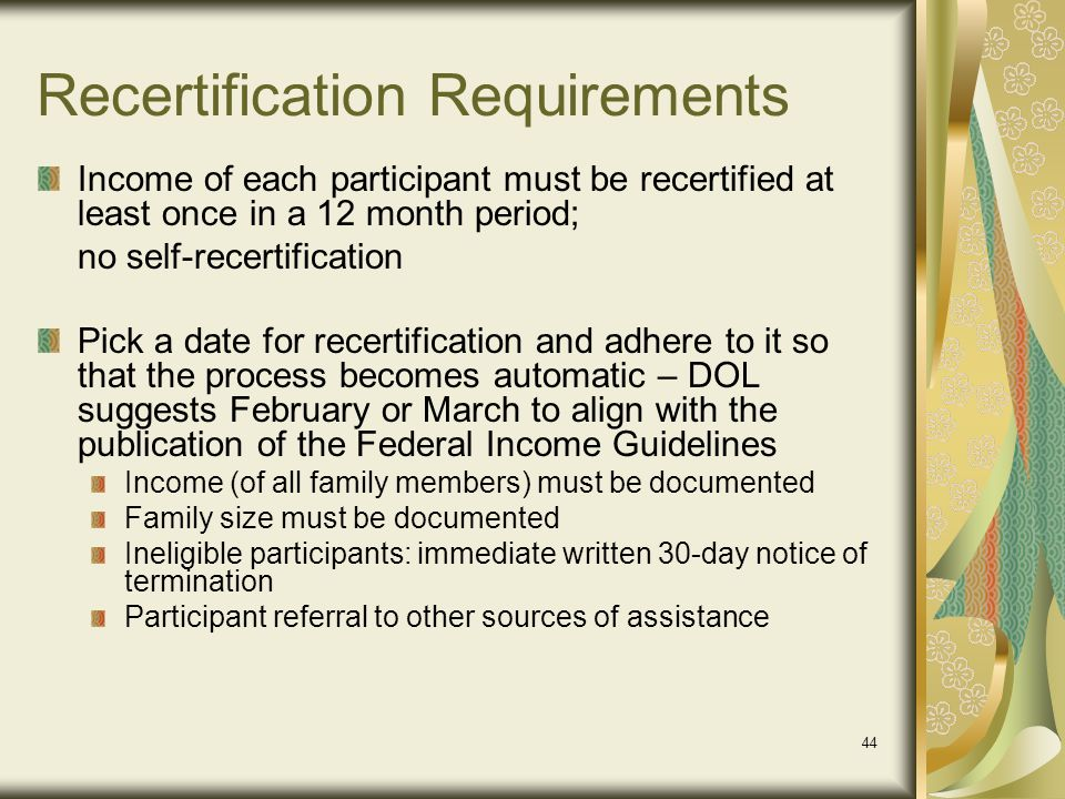 Recertification Requirements