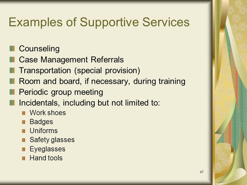 Examples of Supportive Services