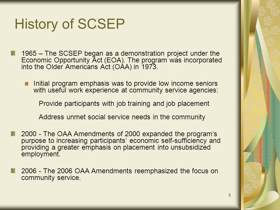 History of SCSEP