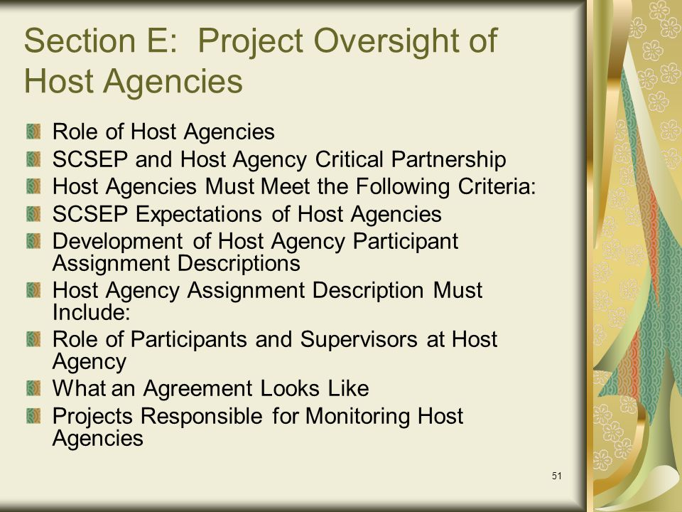 Section E: Project Oversight of Host Agencies