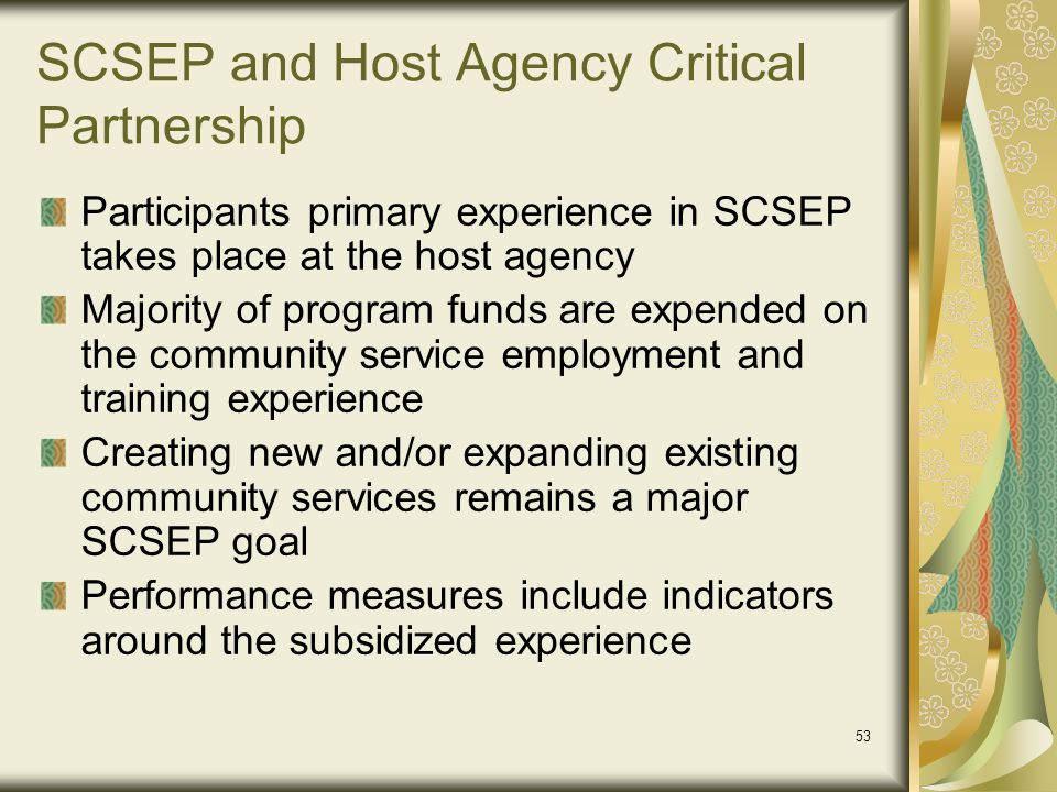 SCSEP and Host Agency Critical Partnership